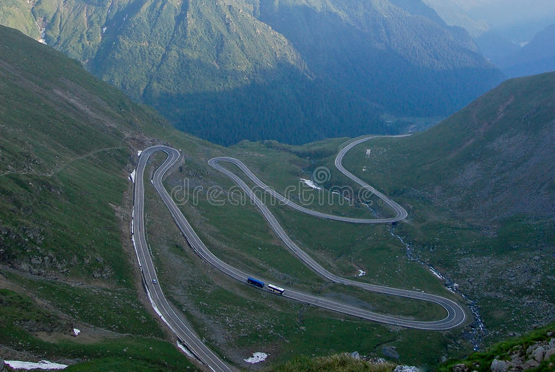 Transfagarasan road. The most famous road in Romania, breaking through the mountains stock photos