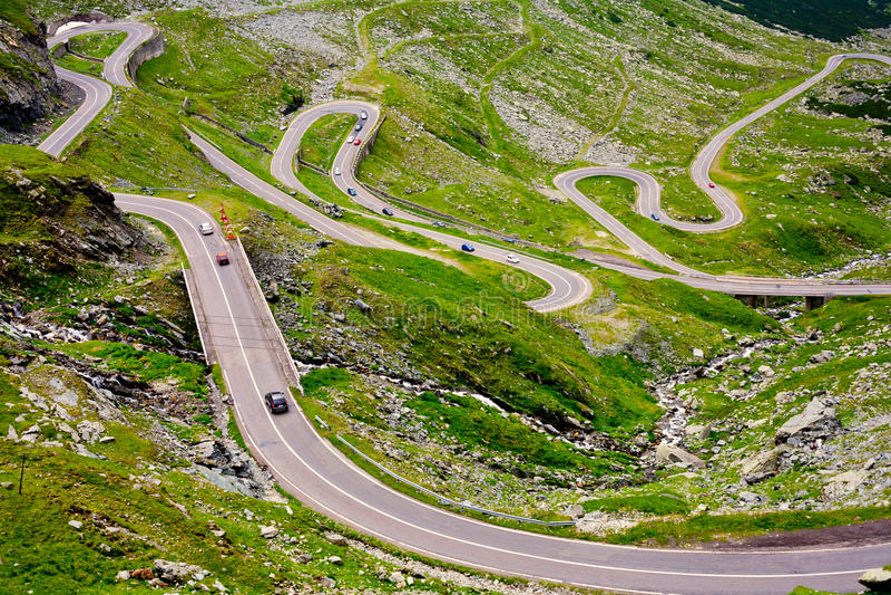 Transfagarasan road in Romania. The Transfagarasan road in Romania, crossing the mountains stock photography