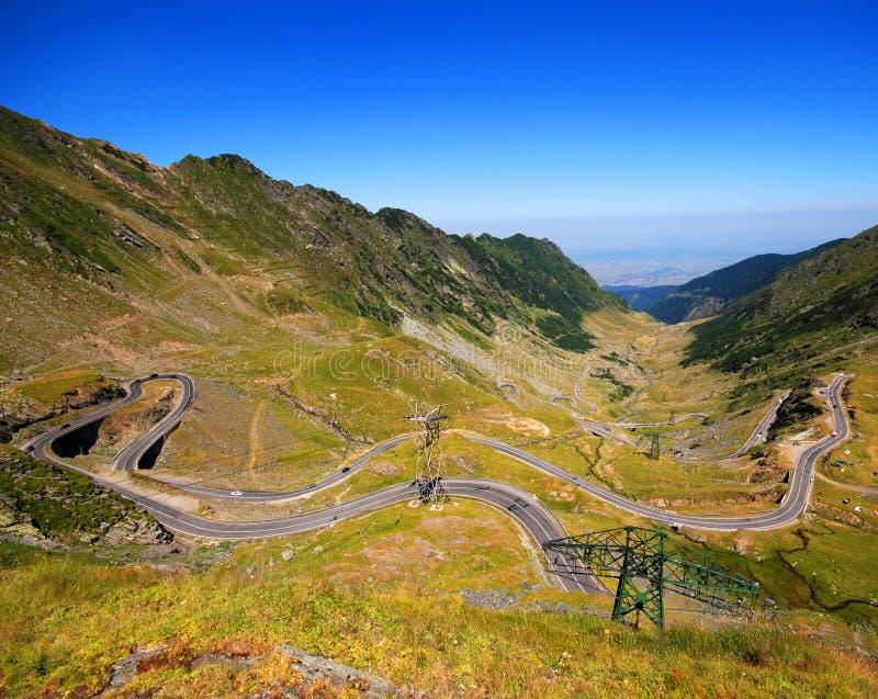 Transfagarasan Road - Romania. Winding road through valley and mountains in Transfagarasan, Romania stock images