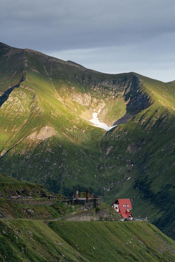 Transfagarasan Road in Romania, DN7C Greatest driving road. Curtea de Arges side of DN7C also known as Transfagarasan, the Road that Top Gear / Grand Tour royalty free stock images