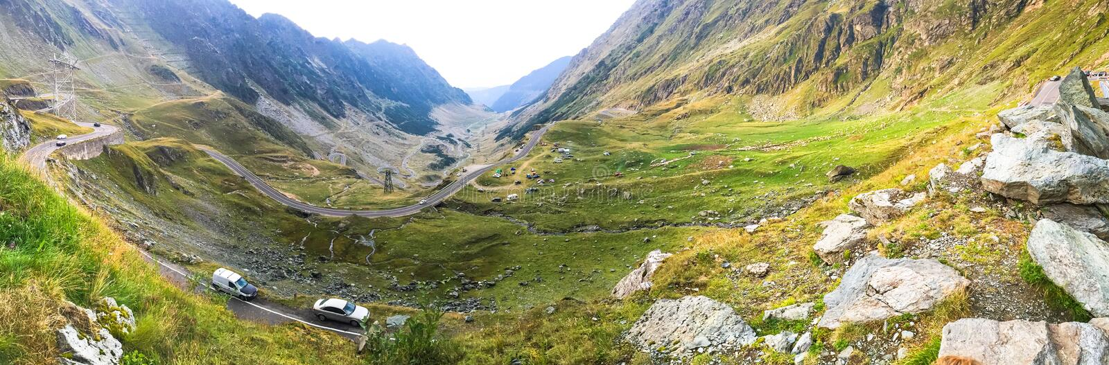 Transfagarasan road in Romania. The winding 90 km Transfagarasan road through the mountains of Romania built in 1974 royalty free stock images