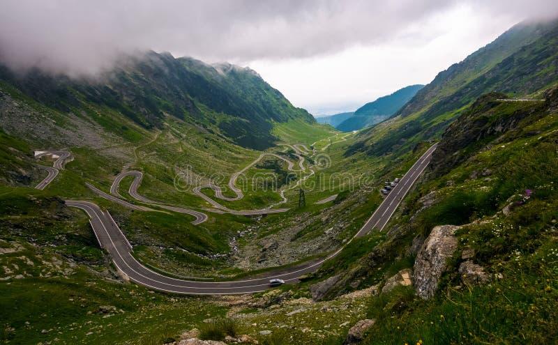 Transfagarasan road on a stormy summer day stock photos