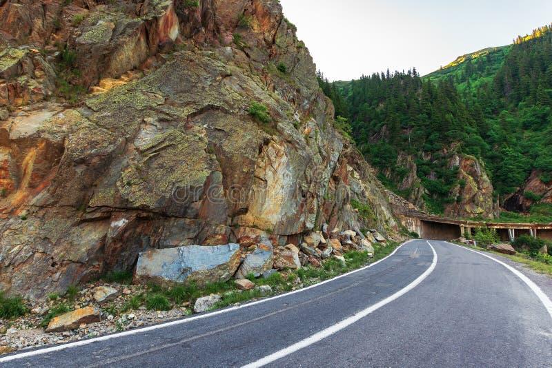 Transfagarasan road at sunrise royalty free stock image
