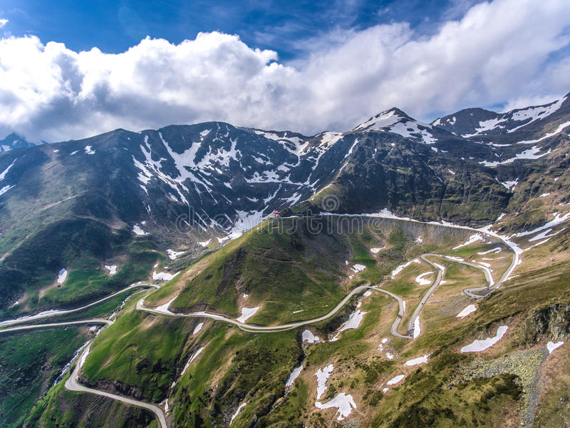 Transfagarasan road in Transylvania panoramic view. Romania, Eur. Ope.The best road in the world for driving and biking, as some say royalty free stock images