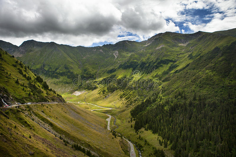 Transfagarasan. Is the second hightest road from Romania stock photo