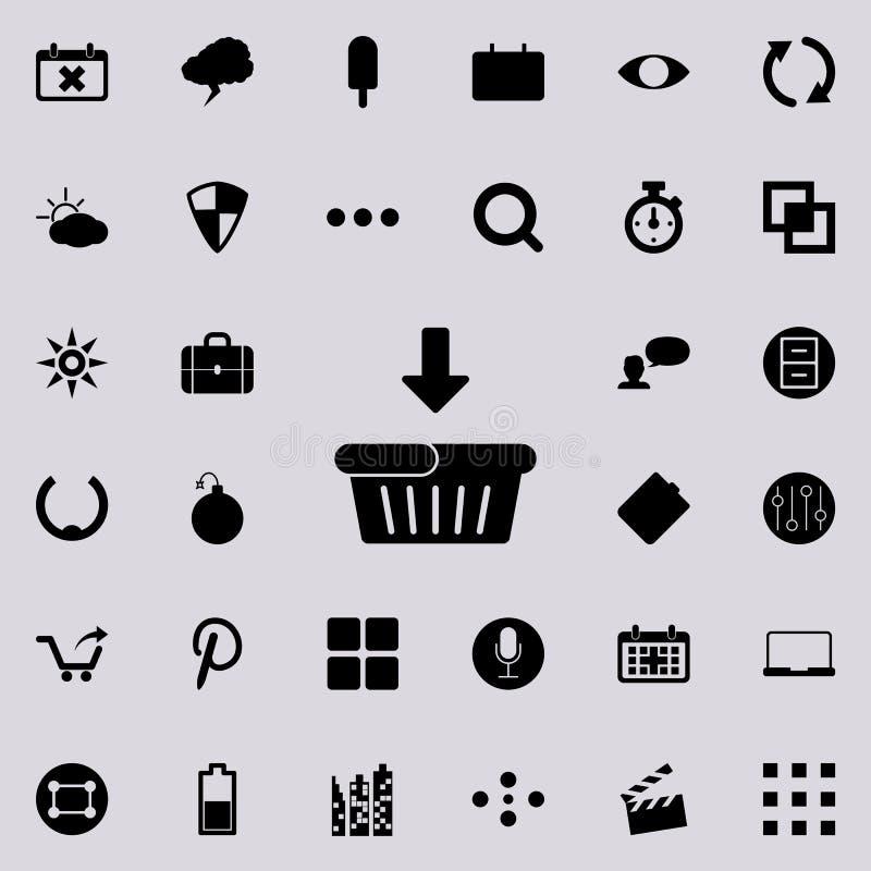 transferência ao ícone do carrinho de compras Grupo detalhado de ícones minimalistic Projeto gráfico superior Um dos ícones da co ilustração royalty free
