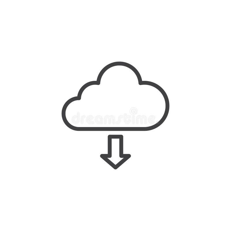 Transferência da linha ícone da nuvem ilustração royalty free