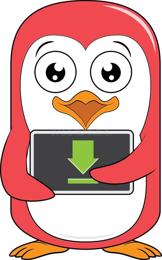 Transferência da mascote do pinguim ilustração royalty free