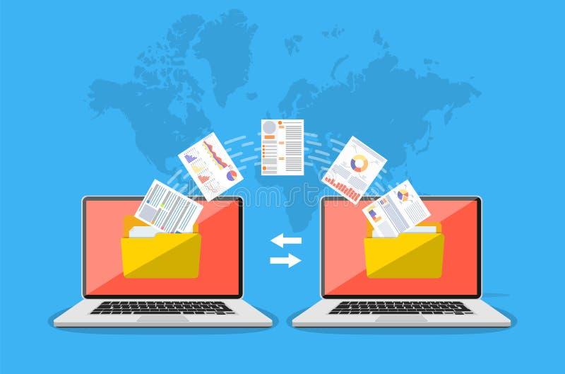 Transferência de arquivo Copie arquivos, exchang dos dados ilustração stock