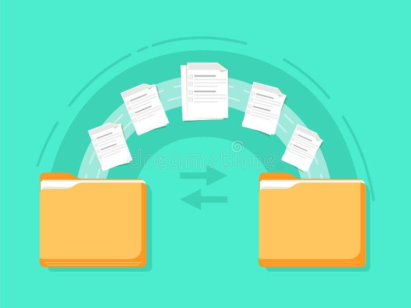 Transferência de arquivo Dois originais transferidos dobradores Copie os arquivos, de intercâmbio de dados, alternativos, migraçã ilustração do vetor