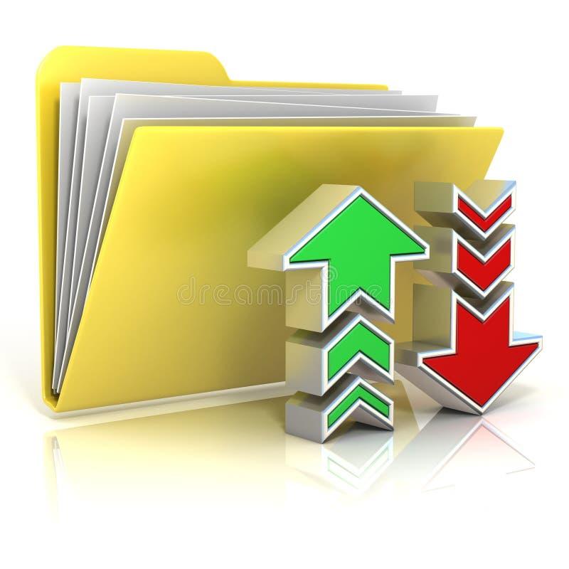 Transferência de arquivo pela rede, ícone do dobrador da transferência ilustração do vetor