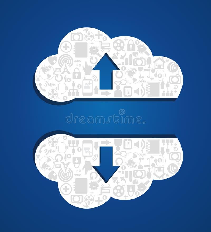 Transferência de arquivo pela rede e transferência da nuvem ilustração stock