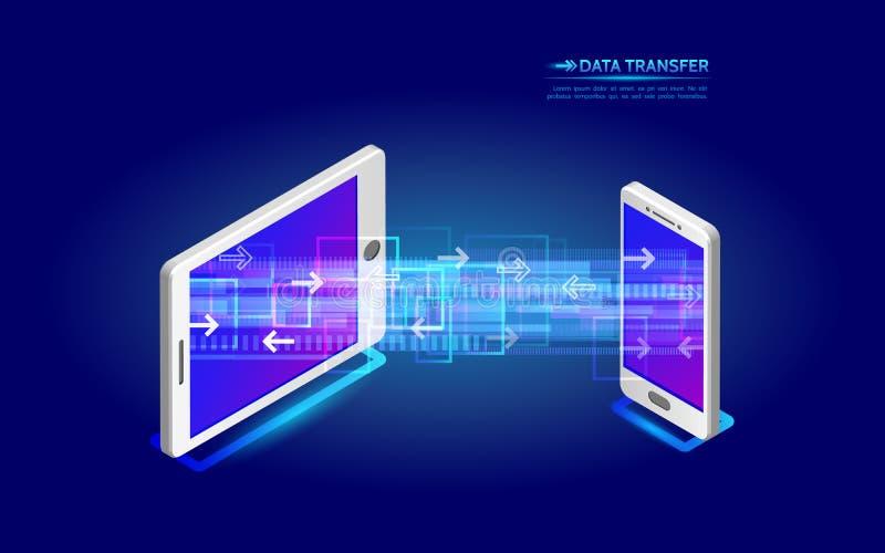 Transferência de arquivos da tabuleta ao smartphone Digita virtual abstrato ilustração stock