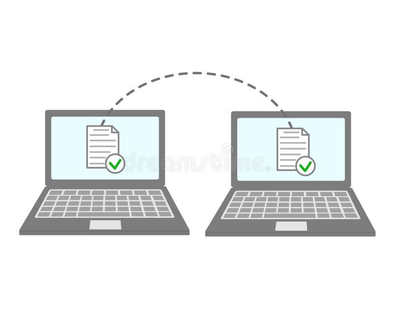 Transferência de arquivos dos cadernos A transmissão de dados, ftp arquiva o receptor e a cópia alternativa de laptop Documento q ilustração royalty free