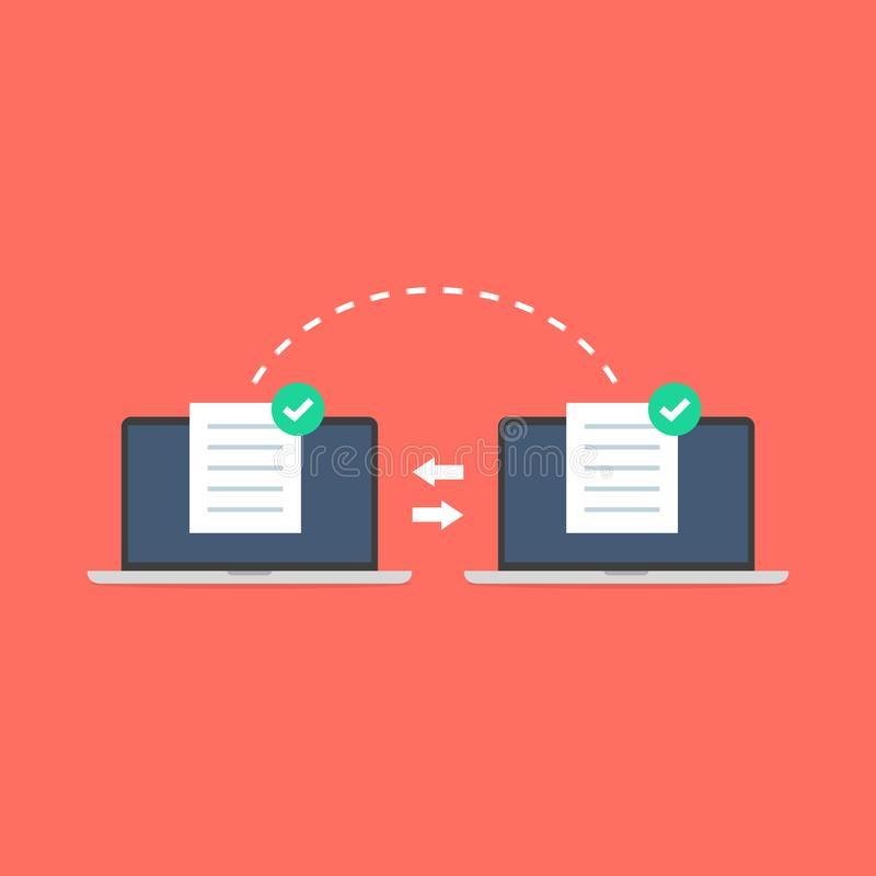 Transferência de arquivos dos cadernos A transmissão de dados, ftp arquiva o receptor e a cópia alternativa de laptop ilustração do vetor