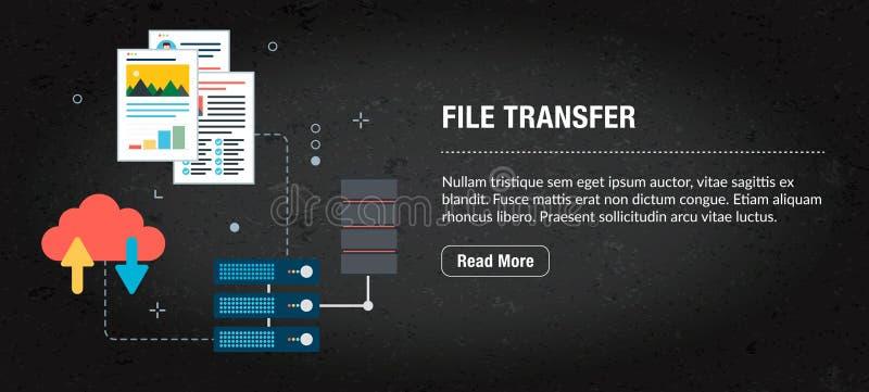 Transferência de arquivos, Internet da bandeira com ícones no vetor foto de stock royalty free