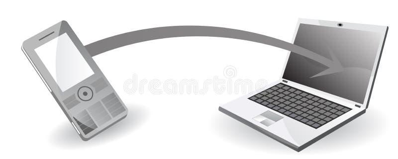 Transferência de dados do telefone móvel ao computador ilustração stock
