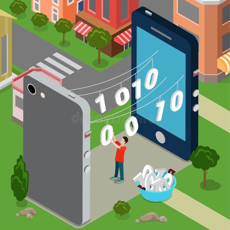 Transferência de dados ha de uma comunicação da partilha de informação ilustração royalty free