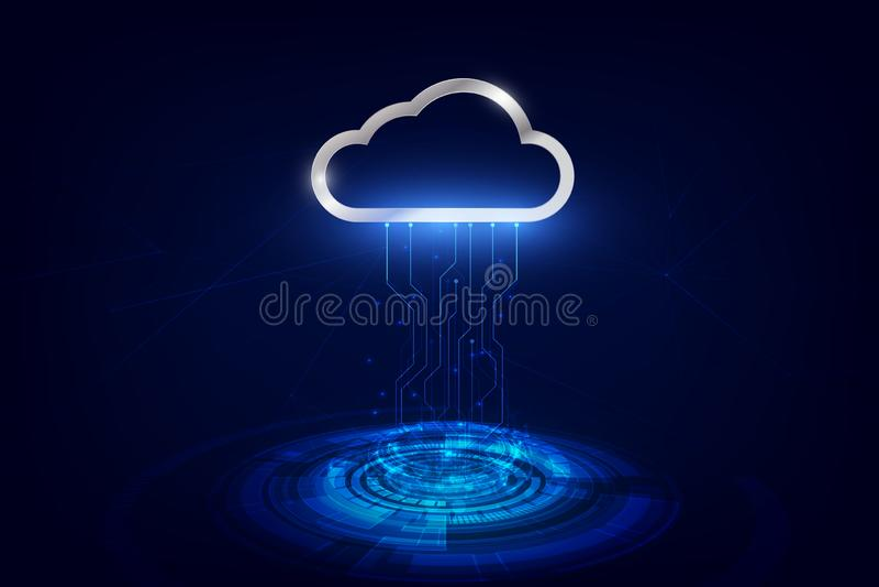 Transferência de dados para nublar-se o armazenamento de dados da tecnologia, futurista de transferência de dados, tecnologia em  ilustração stock