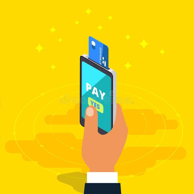 Transferência de dinheiro através do telefone celular no projeto isométrico do vetor Digitas ilustração royalty free