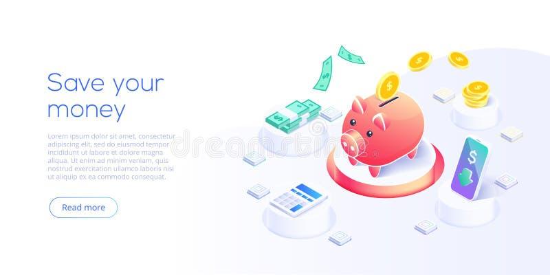 Transferência de dinheiro através do telefone celular no projeto isométrico do vetor Pagamento de Digitas ou serviço em linha do  ilustração do vetor