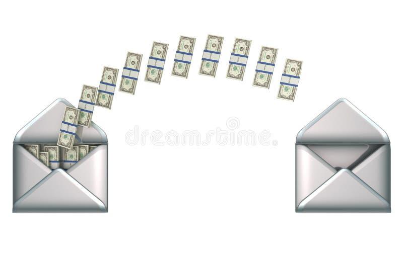 Transferência de dinheiro - dólares americanos E 2 envelopes ilustração royalty free