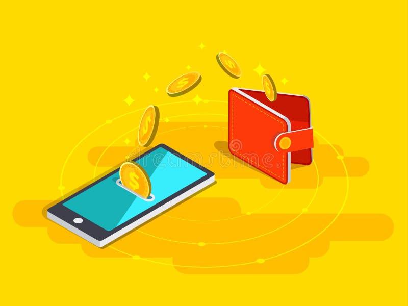 Transferência de dinheiro da carteira no telefone celular no vetor isométrico de ilustração do vetor