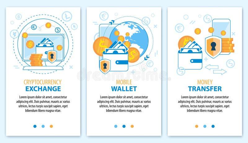 Transferência de dinheiro da carteira da troca de Cryptocurrency ilustração royalty free