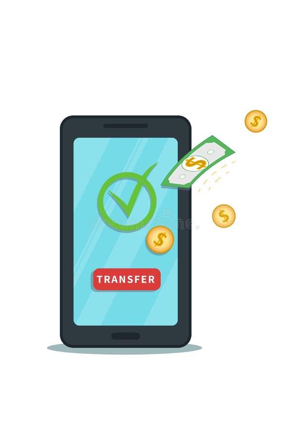 Transferência de dinheiro em linha do app móvel Transação bem sucedida do banco Carteira de Digitas ilustração stock