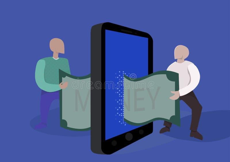 Transferência de dinheiro em linha Ilustração do conceito Dois pessoas passam-se uma conta usando o smartphone ilustração do vetor