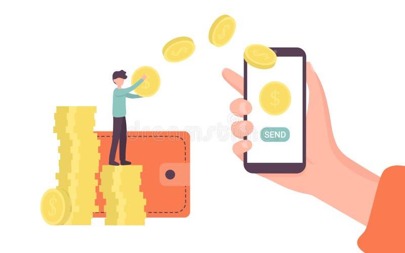 Transferência de dinheiro em linha, posse da mão com telefone e para enviar o botão ilustração royalty free