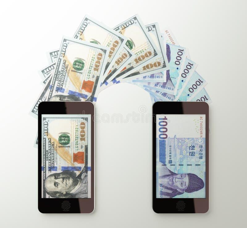 Transferência de dinheiro móvel internacional, dólar ao coreano ganhado ilustração do vetor
