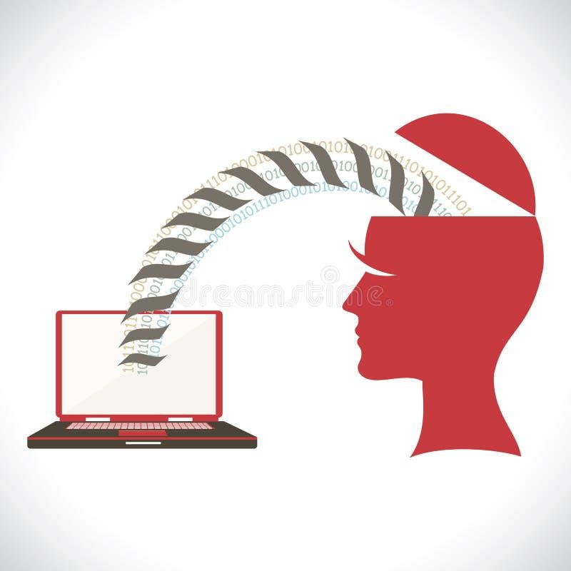 Transferência de ficheiros da cabeça ao portátil ilustração royalty free