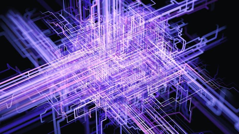 Transferência de informação, de Cloud Computing, de AI e de Big Data ilustração royalty free