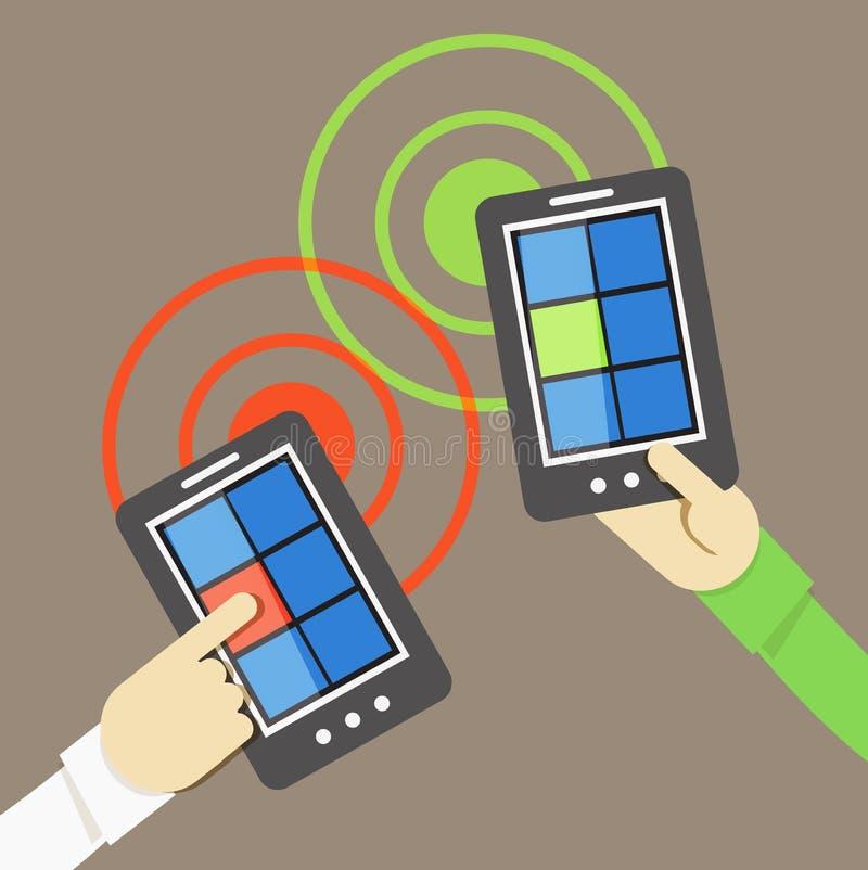 Transferência de informação do telefone celular ilustração royalty free
