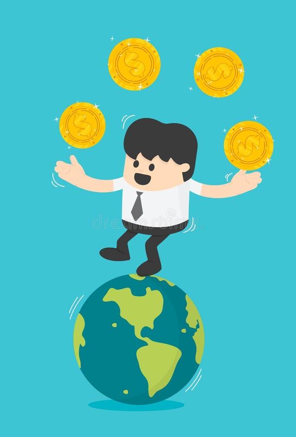 Transferência de negócio do conceito das moedas Homem de negócios bem sucedido ilustração do vetor