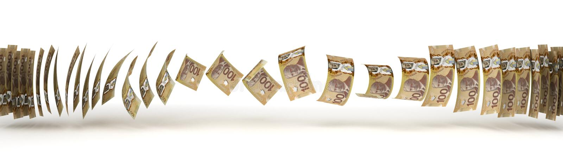 Transferência do dólar canadense ilustração royalty free