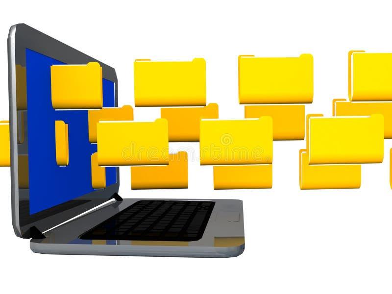 Transferência do portátil do tráfego de dados dos arquivos - rendição 3d ilustração royalty free