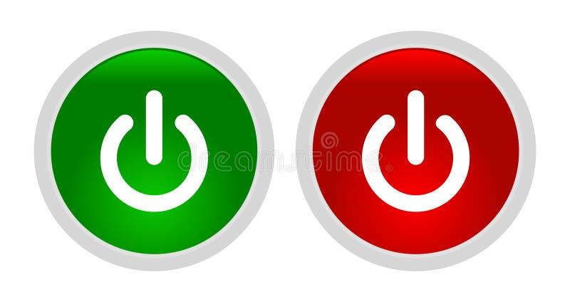 Transferência do vetor da ilustração dos botões do poder ilustração stock