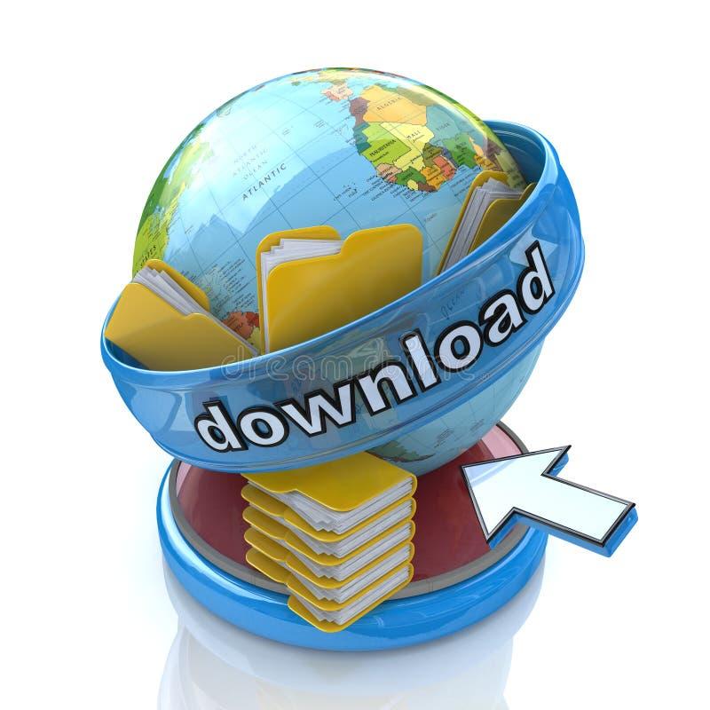 transferência e pastas de arquivos do planeta 3d ilustração royalty free