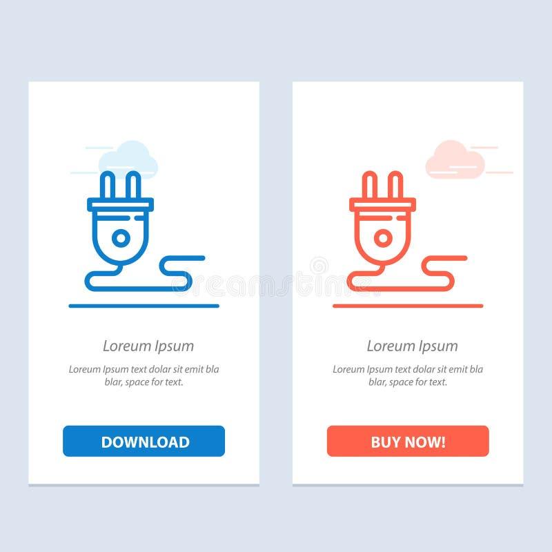 Transferência elétrica, da energia, da tomada, da fonte de alimentação, a azul e a vermelha e para comprar agora o molde do cartã ilustração stock