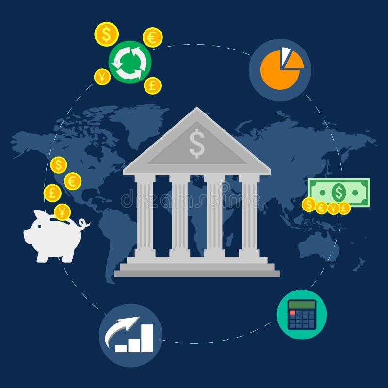 Transferência electrónica do banco, transferência de fundos Projeto liso Ilustração do vetor ilustração do vetor
