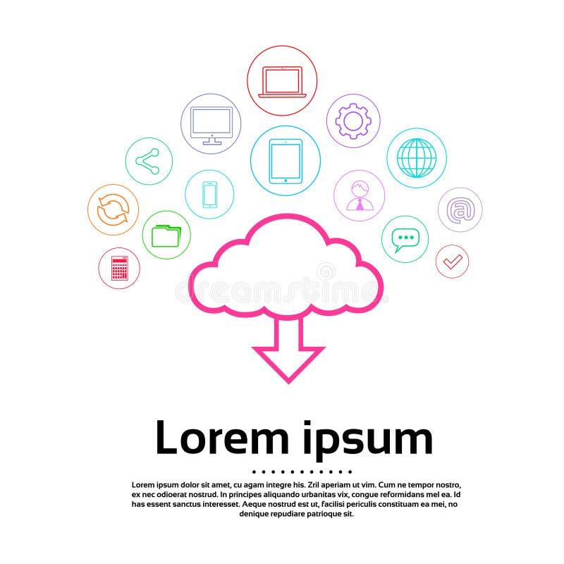 Transferência Logo Set Computer Thin do Internet da nuvem ilustração royalty free