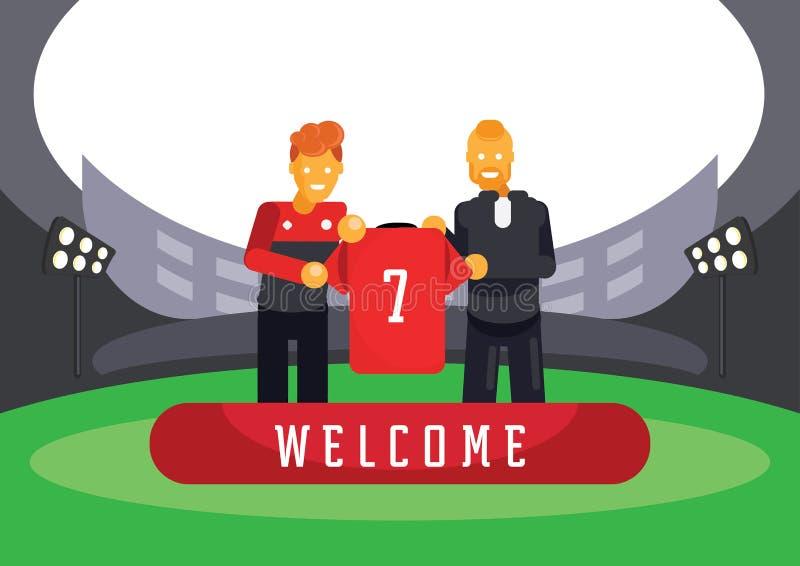 Transferência nova do jogador de equipa vermelho com ilustração do gerente ilustração stock