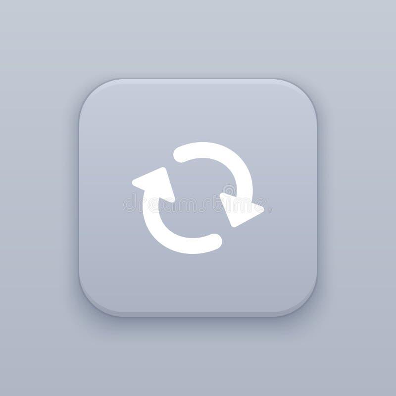 A transferência que espera, refresca, botão cinzento do vetor com ícone branco no fundo cinzento ilustração royalty free