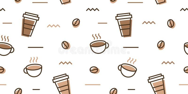 transferência sem emenda do papel de parede do fundo do teste padrão de memphis do copo da caneca do feijão de café ilustração royalty free