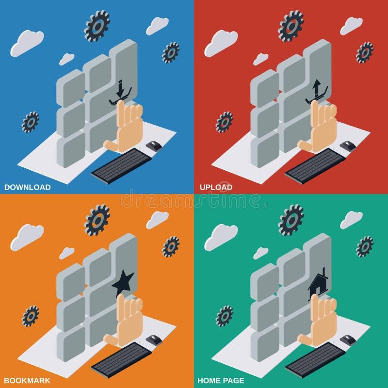 Transferência, transferência de arquivo pela rede, marcador, ilustrações do Home Page ilustração stock