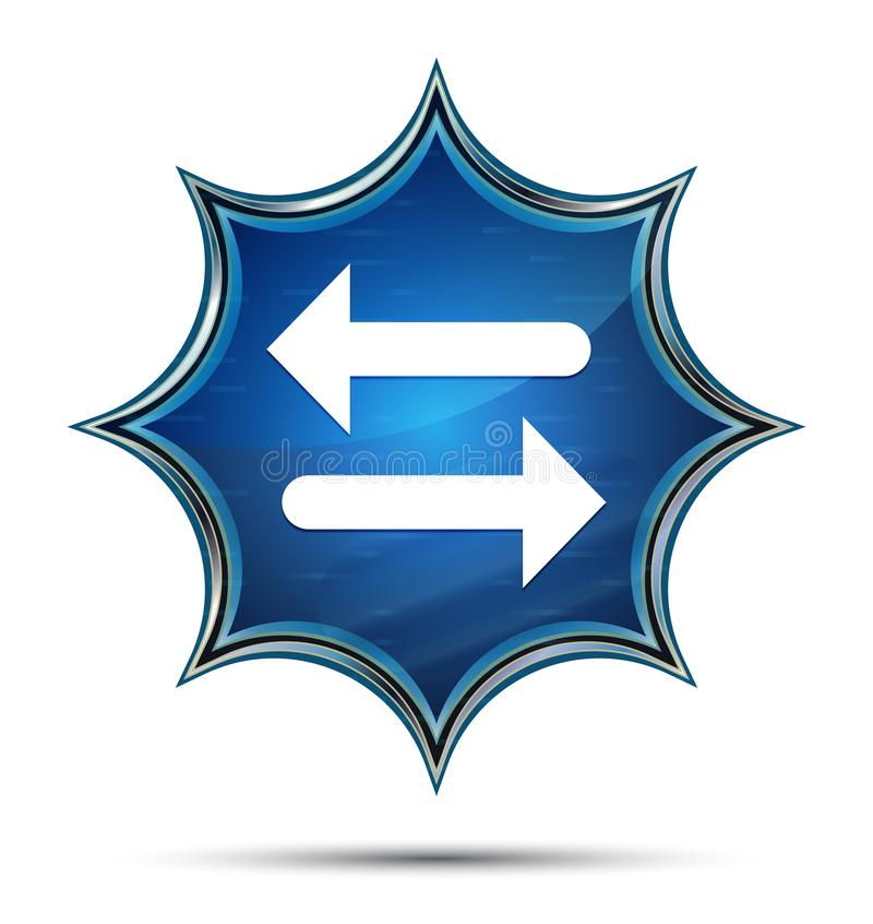 Transfer arrow icon magical glassy sunburst blue button. Transfer arrow icon isolated on magical glassy sunburst blue button stock illustration