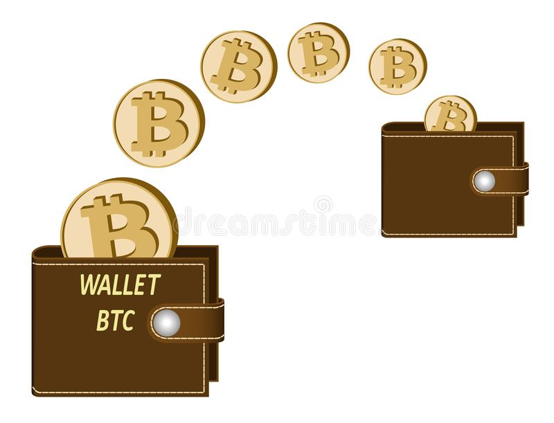 Transfer bitcoin coins from one wallet to another vector illustration