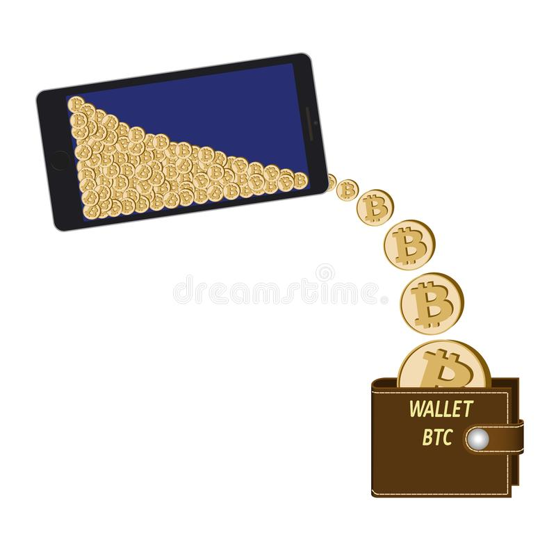 Transfer bitcoin coins from phone to wallet stock illustration